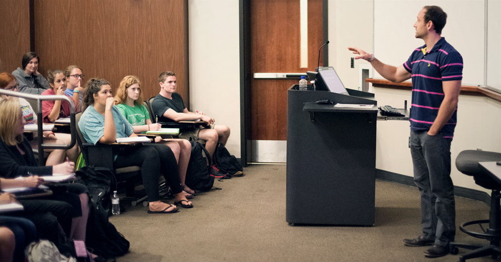 Dr. Will Hart leading an undergraduate class